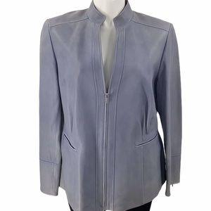 Lafayette 148 leather jacket size 16 distressed